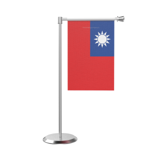 L Shape Table Taiwan Table Flag With Stainless Steel Base And Pole