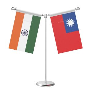 Y Shaped Taiwan Table Flag With Stainless Steel Base And Pole