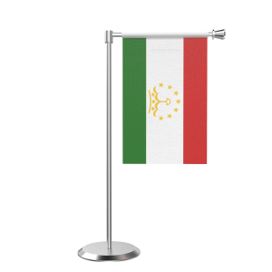 L Shape Table Tajikstan Table Flag With Stainless Steel Base And Pole