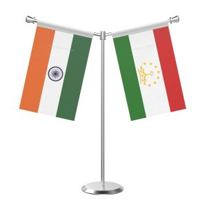 Y Shaped Tajikstan Table Flag With Stainless Steel Base And Pole