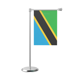 L Shape Table Tanzania Table Flag With Stainless Steel Base And Pole
