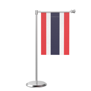 L Shape Table Thailand Table Flag With Stainless Steel Base And Pole