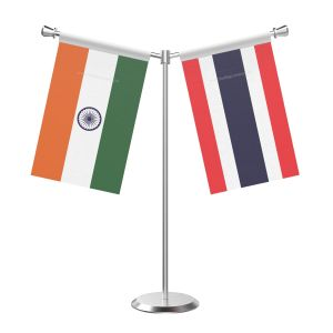 Y Shaped Thailand Table Flag With Stainless Steel Base And Pole