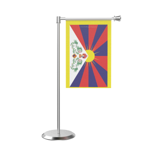 L Shape Table Tibet Table Flag With Stainless Steel Base And Pole