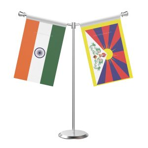 Y Shaped Tibet Table Flag With Stainless Steel Base And Pole