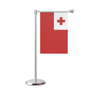 L Shape Table Tonga Table Flag With Stainless Steel Base And Pole
