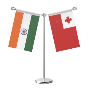 Y Shaped Tonga Table Flag With Stainless Steel Base And Pole