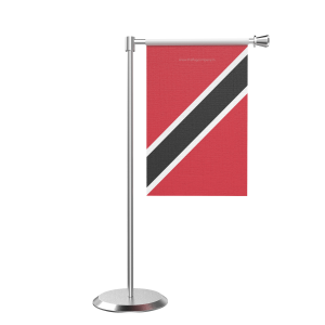 L Shape Table Trindad And Tobago Table Flag With Stainless Steel Base And Pole