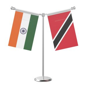 Y Shaped Trindad And Tobago Table Flag With Stainless Steel Base And Pole
