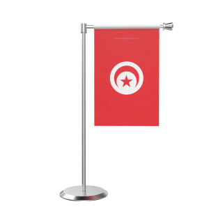 L Shape Table Tunisia Table Flag With Stainless Steel Base And Pole