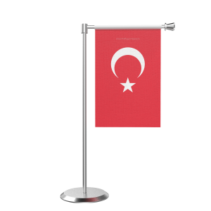 L Shape Table Turkey Table Flag With Stainless Steel Base And Pole