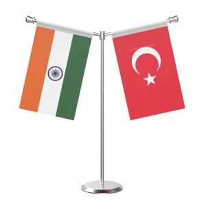 Y Shaped Turkey Table Flag With Stainless Steel Base And Pole