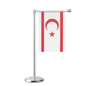 L Shape Table Turkish Republic Of Northern Cyprus Table Flag With Stainless Steel Base And Pole