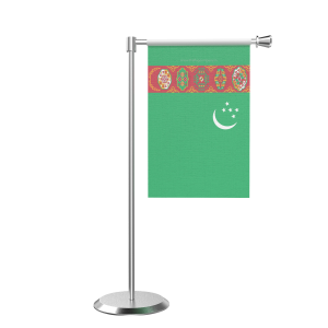 L Shape Table Turkmenistan Table Flag With Stainless Steel Base And Pole