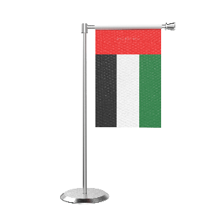 L Shape Table Uae Table Flag With Stainless Steel Base And Pole