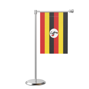 L Shape Table Uganda Table Flag With Stainless Steel Base And Pole