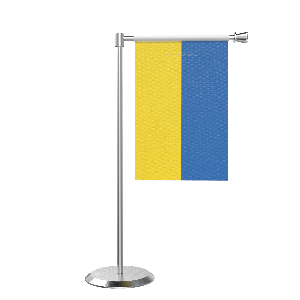 L Shape Table Ukraine Table Flag With Stainless Steel Base And Pole