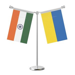 Y Shaped Ukraine Table Flag With Stainless Steel Base And Pole