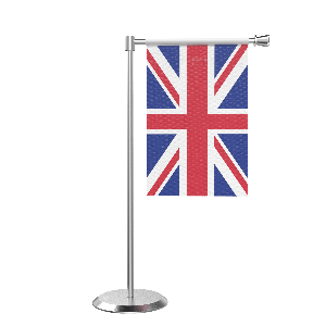 L Shape Table United Kingdom Table Flag With Stainless Steel Base And Pole