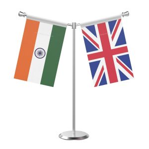 Y Shaped United Kingdom Table Flag With Stainless Steel Base And Pole