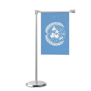 L Shape Table United Nation Table Flag With Stainless Steel Base And Pole