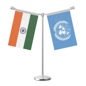 Y Shaped United Nation Table Flag With Stainless Steel Base And Pole