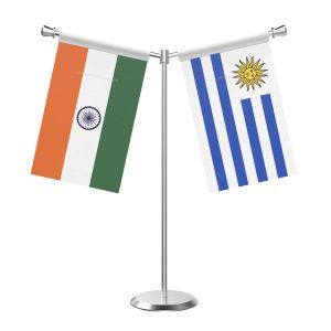 Y Shaped Uruguray Table Flag With Stainless Steel Base And Pole