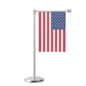 L Shape Table Usa Table Flag With Stainless Steel Base And Pole