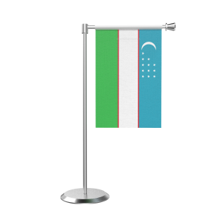 L Shape Table Uzbekistan Table Flag With Stainless Steel Base And Pole