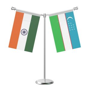 Y Shaped Uzbekistan Table Flag With Stainless Steel Base And Pole