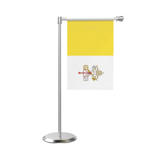 L Shape Table Vatican City Table Flag With Stainless Steel Base And Pole