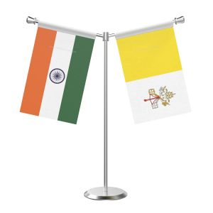 Y Shaped Vatican City Table Flag With Stainless Steel Base And Pole
