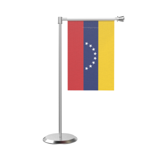 L Shape Table Venezuela Table Flag With Stainless Steel Base And Pole