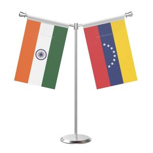 Y Shaped Venezuela Table Flag With Stainless Steel Base And Pole