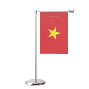 L Shape Table Vietnam Table Flag With Stainless Steel Base And Pole
