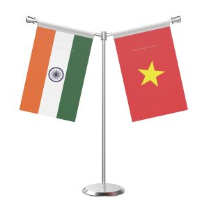Y Shaped Vietnam Table Flag With Stainless Steel Base And Pole