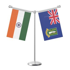 Y Shaped Virgin Islands Table Flag With Stainless Steel Base And Pole