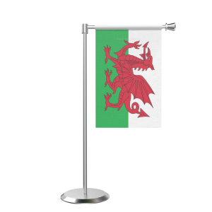 L Shape Table Wales Table Flag With Stainless Steel Base And Pole