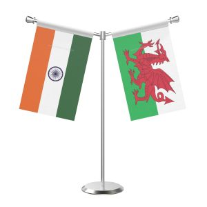 Y Shaped Wales Table Flag With Stainless Steel Base And Pole