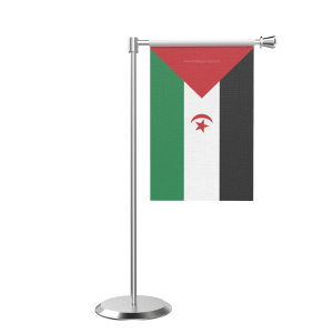L Shape Table Western Sahara Table Flag With Stainless Steel Base And Pole