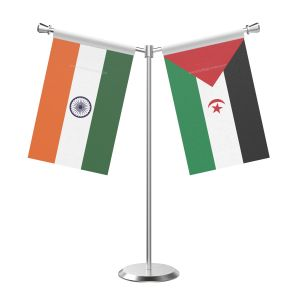 Y Shaped Western Sahara Table Flag With Stainless Steel Base And Pole