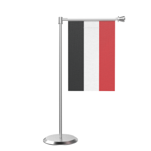 L Shape Table Yemen Table Flag With Stainless Steel Base And Pole