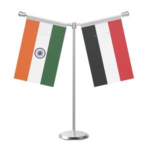 Y Shaped Yemen Table Flag With Stainless Steel Base And Pole