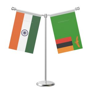 Y Shaped Zambia Table Flag With Stainless Steel Base And Pole