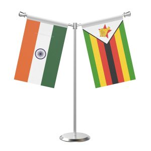 Y Shaped Zimbabwe Table Flag With Stainless Steel Base And Pole
