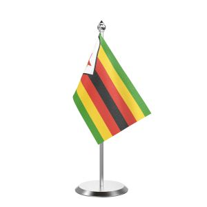 """Single Zimbabwe Table Flag with Stainless Steel Base and Pole with 15"""" pole"""