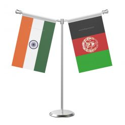 Y Shaped Afghanistan Table Flag With Stainless Steel Base And Pole