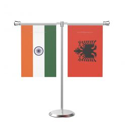 Albania T Shaped Table Flag With Stainless Steel Base And Pole