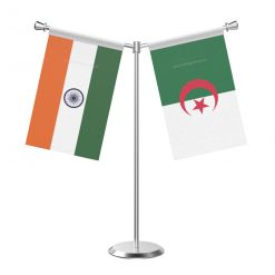 Y Shaped Algeria Table Flag With Stainless Steel Base And Pole