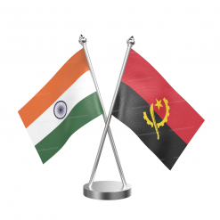 Angola Table Flag With Stainless Steel Base And Pole
